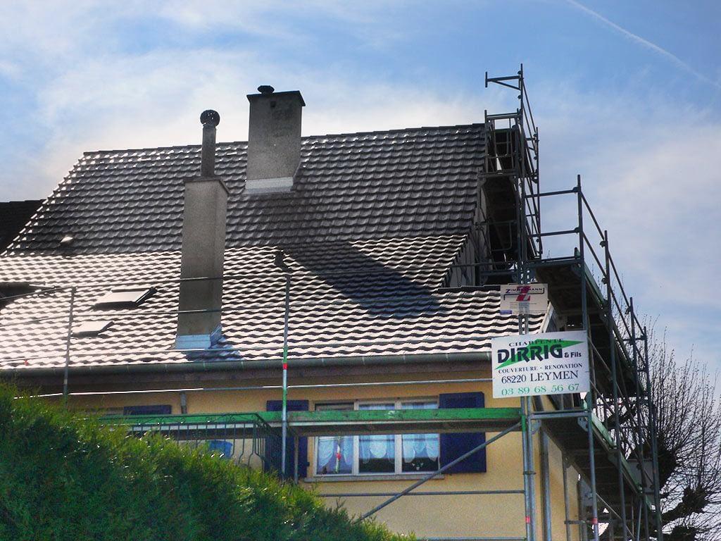 Remplacement couverture toit. Rénovation. Leymen. Résultat