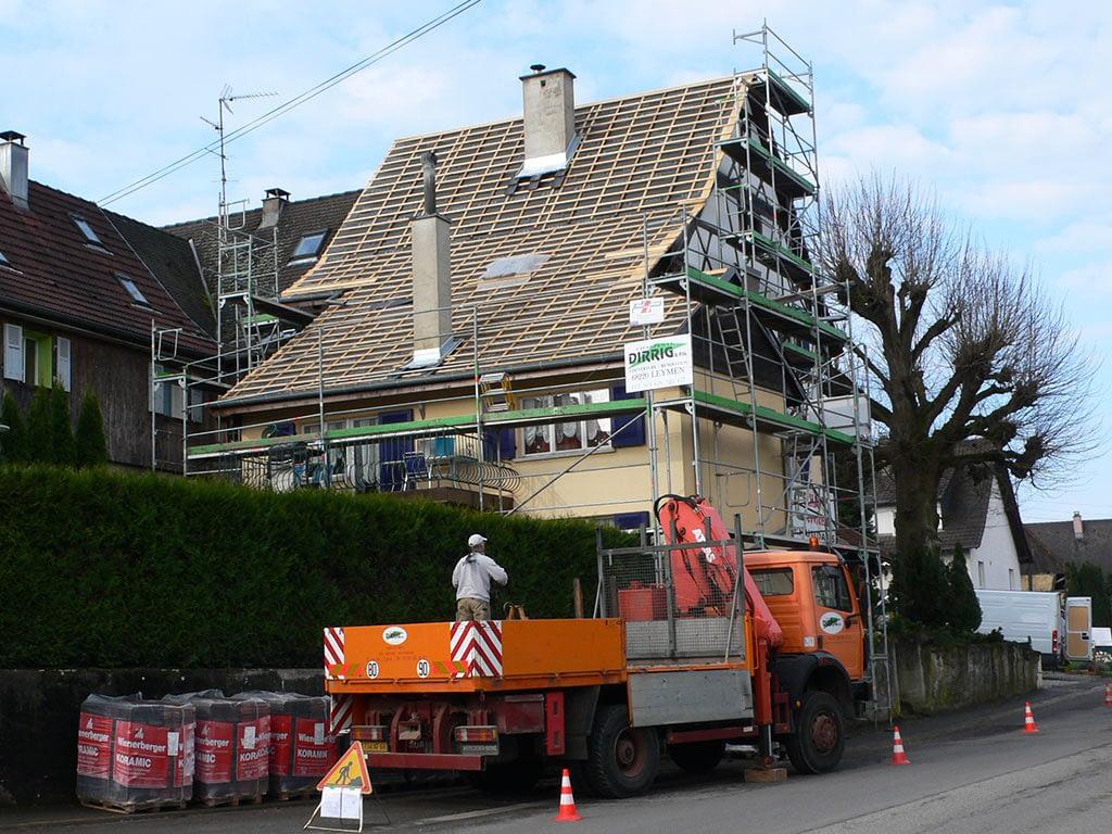 Remplacement couverture toit. Rénovation. Leymen